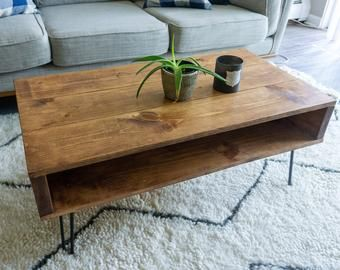 Herringbone Reclaimed Wood Coffee Table On Hairpin Legs Mid Etsy In 2020 Wood Coffee Table Diy Coffee Table Wood Coffee Table