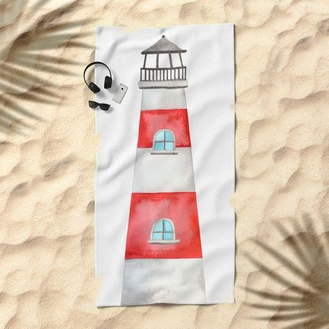 Lighthouse Beach Towel Watercolor Design 4th Of July Sale