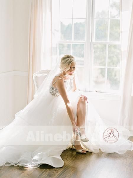e06b90e128 Sparkly Silver Bead Rhinestone Spaghetti Straps Ruffles Ball Gown Wedding  Dresses