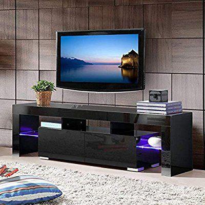 Mecor Black Tv Stand With Lights Mordern Led Tv Stand For 65 Inch Tv High Gloss Tv Stand Wi Black Furniture Living Room Led Tv Stand Black Tv Stand