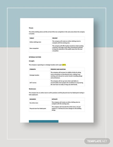 Clothing Store Swot Analysis Template Word Google Docs Apple Pages In 2020 Swot Analysis Template Swot Analysis Analysis