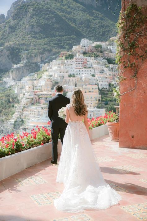 This Travel Blogger's Positano Wedding Is Prettier Than A Postcard and we think her wedding dress our #GALA210 embroidered tulle ballgown is the perfect choice.