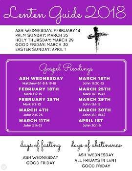 Lent Guide 2018 Gospel Reading Important Dates Holy Thursday