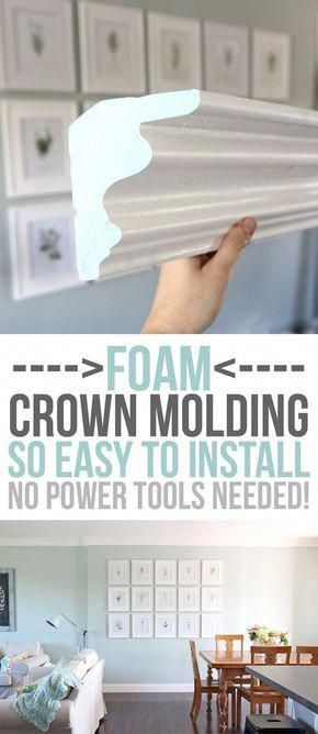 Foam Crown Molding Installation And Product Review Home Remodeling Diy Foam Crown Molding Crown Molding Installation