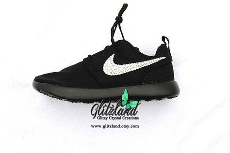 54c6d159d896 Swarovski Nike Girls Preschool Black Roshe Nike Roshe Run