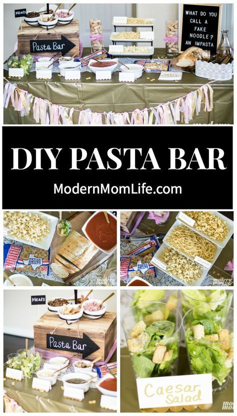 You Need This Pasta Bar At Your Next Party Introducing a Bar that is as unique and special as the friendships we make. Check out this DIY Pasta Bar guide complete with party decoration ideas, pasta recipes and shopping tips. Pasta Bar Party, Party Food Bars, Dinner Party Menu, Food For Party Buffet, Diy Party Bar, Party Food Menu, Diy Bar, Fete Laurent, Italian Buffet