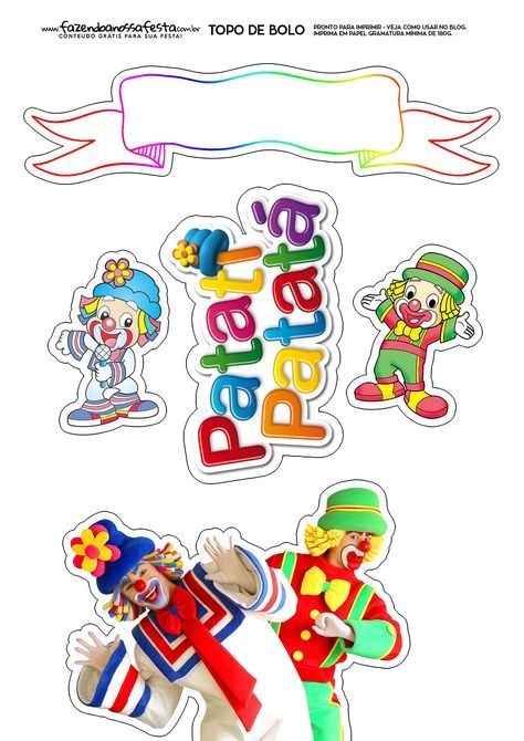 Topo De Bolo Patati E Patata Movie Cupcakes Cute Clown Scrapbook