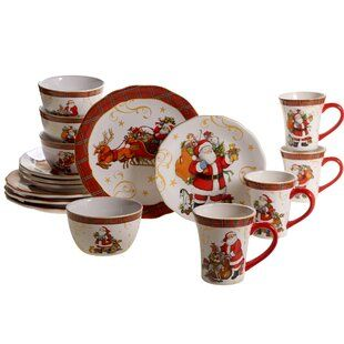 Christmas Tableware Linens Sale You Ll Love In 2019 Wayfair Red Dinnerware Set Dinnerware Set Vintage Santas