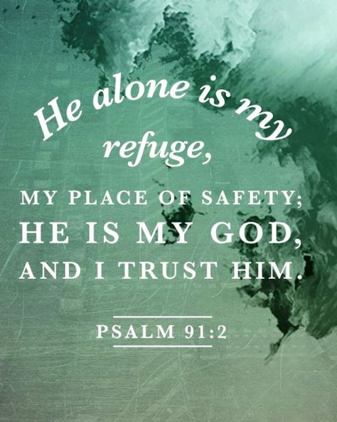 """Psalm 91:2 (NIV) - This I declare about the LORD: He alone is my refuge, my place of safety; He is my God, and I trust Him. """""""
