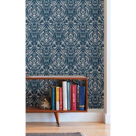 Nuwallpaper Bohemian Damask Indigo Peel Stick Wallpaper Walmart Com Peel And Stick Wallpaper Indigo Wallpaper Decor
