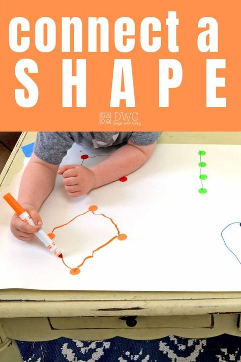 A fun fine motor way to make shapes. Connect the dots to make a shape. Great indoor play for preschoolers at home. Fun Activities For Preschoolers, Preschool Activities At Home, Fine Motor Activities For Kids, Motor Skills Activities, Toddler Learning Activities, Preschool Learning Activities, Preschool Lessons, Fun Learning, Shapes For Preschool