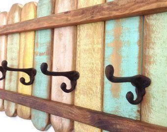 XL Rustic Wood Coat Rack Nautical Blue / OOAK By RiversideStudioON | Coat  Rack | Pinterest | Coat Racks, Coat Hooks And Shabby Cottage Part 75