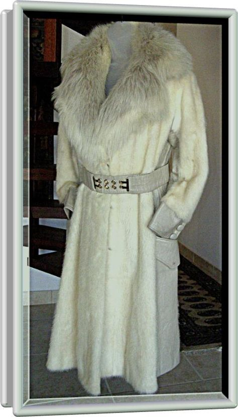 Retro Mink Fur Coat with Silver Fox  Collar Leather Cuffs and sides Vintage 60s 10,000. $319.00, via Etsy.
