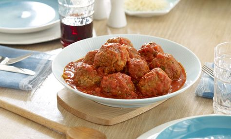 """Patricia Heaton's Family Favorite Meatballs: """" It's the sort of great, old-fashioned comfort food anybody can make. Recipes on the Food Network look fun—and there's nothing wrong with trying new dishes—but we're all so busy! The kids have homework and activities. But I know if I serve this with a red sauce, a nice salad, and some great buttery-hot garlic bread, we'll have a relaxed dinner. It's """" mmmmmm."""" '"""