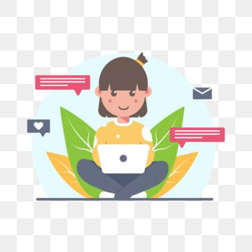 Cute Woman Sending Message And Working From Home Work From Home Cute Woman Png And Vector With Transparent Background For Free Download In 2020 Cartoon Styles Cute Woman Pop Art Illustration