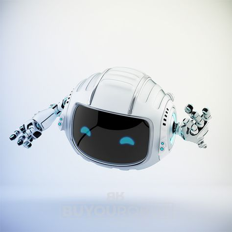 Gesturing cutan aerial silver robot with led screen showing digital eyes