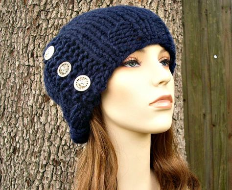 47686a7ae2 Knit Hat Womens Hat Cardigan Beanie Hat in Navy Blue by pixiebell ...