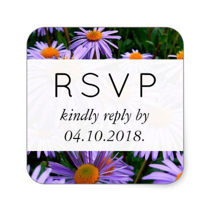 Rsvp Aster Flowers Blossoms Purple Orange Square Sticker Purple Floral Style Gifts Flower Flowers Wedding Stickers Labels Wedding Stickers Orange Square