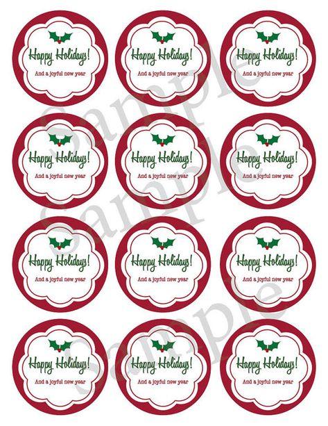 Printable Christmas mason jar label   Holiday canning jar label   New Year sticker   gift tag