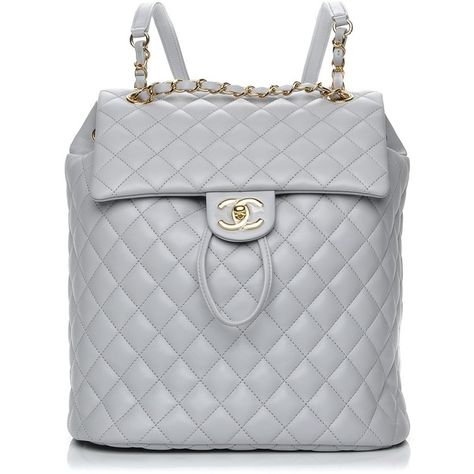 950dedc7ed79 CHANEL Lambskin Quilted Large Urban Spirit Backpack Grey ❤ liked on  Polyvore featuring bags, backpacks, cross over bag, grey rucksack, chanel  bags, ...