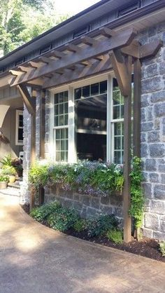 Window box with gazebo Whilst historical throughout notion, a pergola have been going through a Front Yard Landscaping, Backyard Patio, Pergola Patio, Landscaping Ideas, Front Porch Pergola, Wedding Arbor Rustic, Garage Pergola, Garage Trellis, Marquise
