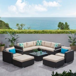 Santa Rosa Outdoor 10 Piece Wicker Sectional Sofa Set With Cushions By Christopher Knight Home With Images Wicker Patio Furniture Set