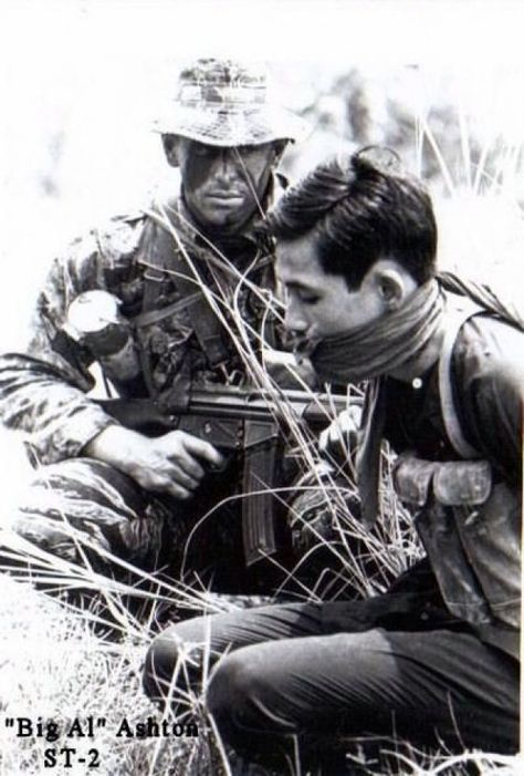 Navy SEALs with VietCong prisoner. Note the G3 rifle with 30rd. magazine #vietnam #south #vietnam