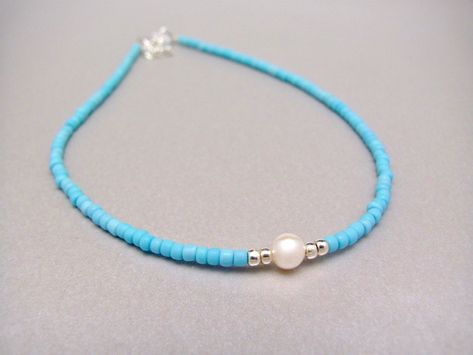 Turquoise Blue Freshwater Pearl Bracelet Hawaiian Jewelry Blue White Gift for Mom Mothers Day