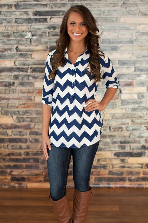 Navy Chevron Blouse but with white pants