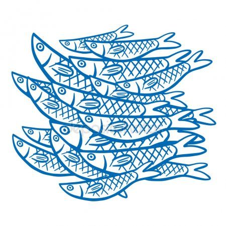 Pattern With Blue Contoured Sardines Nel 2020 Illustrazioni Disegni