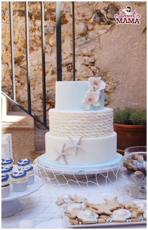 Nautical Wedding Cake - cake by Soraya Sweetmama - CakesDecor beach wedding cakes Nautical Wedding Cakes, Nautical Cake, Floral Wedding Cakes, Starfish Wedding Cake, Beach Wedding Cakes, Wedding Favors, Wedding Bands, Wedding Souvenir, Nautical Anchor