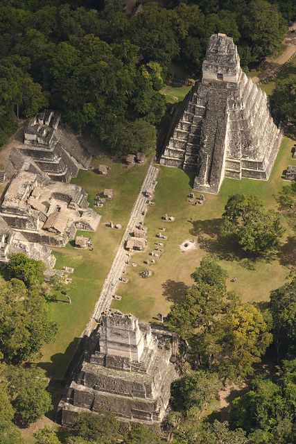 Tikal, Guatemala - The acropolis here, at 212 feet, are the highest in the Western Hemisphere. The temples and pyramids at Tikal were built by the Maya. Places Around The World, Oh The Places You'll Go, Places To Travel, Places To Visit, Around The Worlds, Travel Destinations, Ancient Ruins, Mayan Ruins, Ancient Egypt