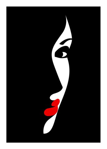 'LE CRAZY' series portrait illustration of Crazy Horse Saloon showgirl by Malika Favre in her amazing and thought provoking simplistic artwork many times featuring her iconic lips Arte Pop, Art Drawings Sketches, Easy Drawings, Couple Drawings, Indian Art Paintings, Silhouette Art, Fabric Painting, Watercolor Art, Modern Art