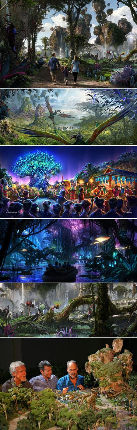 """Two years after Disney announced an """"Avatar""""-themed land inside Walt Disney World's Animal Kingdom, the company has released the first concept art of what the Orlando-based attraction will look like. The largest expansion in the history of the park, Walt Disney Parks & Resorts Chairman Tom Staggs unveiled concept art at D23 Expo this week in Tokyo."""