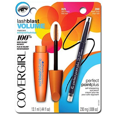 95858db4eb0 COVERGIRL LashBlast Volume Water Resistant Mascara Very Black 825 ( .44 oz)  and Perfect Point Plus Eye Pencil Black Onyx ( .008 oz) Value Pack ***  Details ...