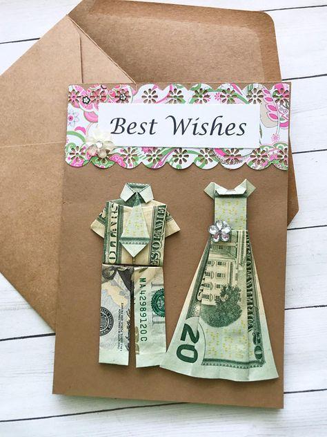 Origami card, bride and groom, wedding card, origami money, wedding gift, gift card holder, money ca