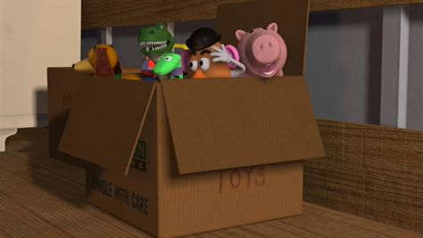 Andy S Toys Need To Be Properly Secured In The Moving Box Candy Games Moving Boxes Toy Chest