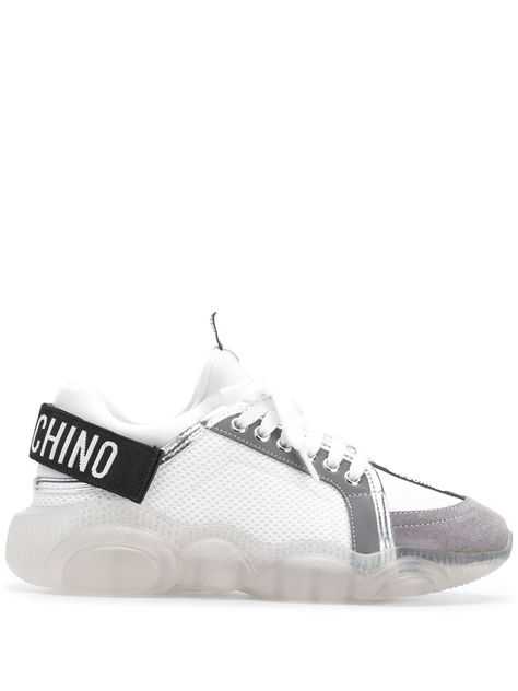 MOSCHINO SNEAKERS TEDDY RUN WITH STRAP COLOR WHITE GRAY