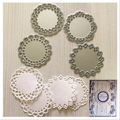 4Pcs Round Lace Metal Cutting Die Stencils DIY Scrapbooking Album Embossing Tool