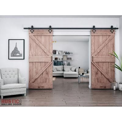 Country Style Single Double Barn Door Hardware Kit 4 20 Track Rustic Rolling Doors With Images Bypass Barn Door Double Barn Doors Interior Barn Doors