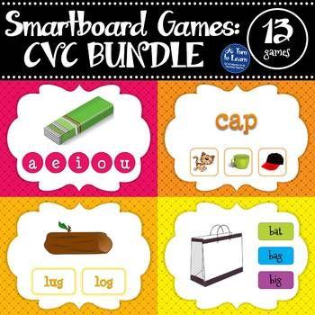 Cvc Words Mega Bundle Of Smartboard Games 13 Activities Included Cvc Words Smart Board Games Smart Board