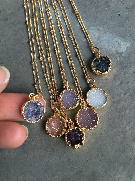 Druzy Quartz Necklaces, Druzy Jewelry, Crystal Druzy, Aunt Gift, Bridesmaids Jewelry - Natural druzy gold Elecroform about round. Gold filled chain 16 come in sweet gift box.