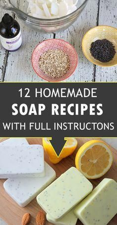 These 12 Homemade diy soap recipes are made entirely of natural ingredients and are great for sensitive skins. A very great homemade gift idea that is easily and quickly done! #soapmakingbusiness