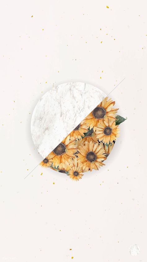 Download premium vector of Sunflower bouquet on beige mobile phone