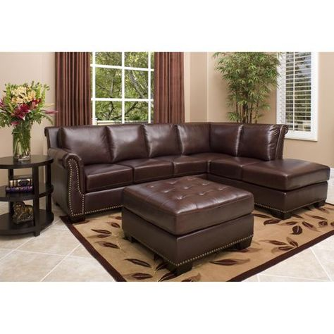 Stupendous Encore Top Grain Leather Sectional And Ottoman Living Room Squirreltailoven Fun Painted Chair Ideas Images Squirreltailovenorg