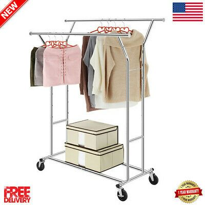 Details About Portable Double Heavy Duty Rail Clothes Hanger Rolling Garment Home Rack Holder In 2020 Rolling Garment Rack Garment Racks Clothing Rack