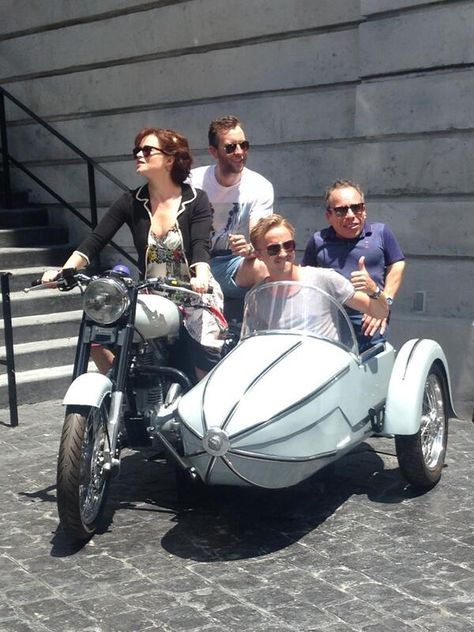 Bellatrix, Neville, Draco and Flitwick...just hanging out on Sirius's motorcycle. I've sat where Helena Bonham Carter is sitting!!