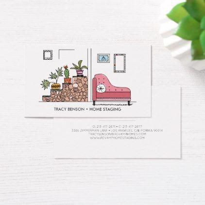 Hand Drawn Home Decor Business Card Zazzle Com Design Business Card Ideas Business Cards Cool Business Cards
