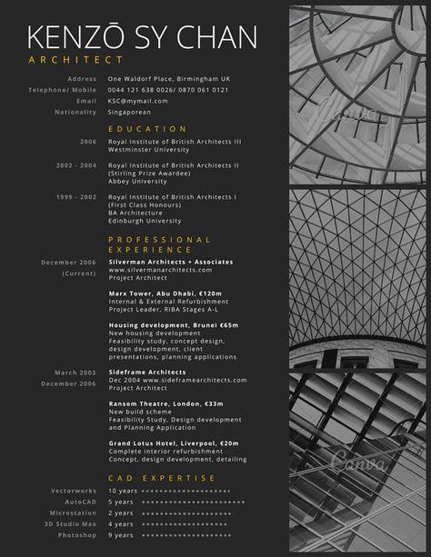 Professional Architect Resume Canva Cv Créatif Exemple