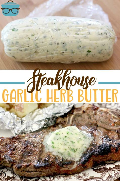 BEST STEAK MARINADE / STEAKHOUSE BUTTER - main dishes Take your steak to another level. A simple, fresh vinaigrette marinade with garlic is all it takes to make a steakhouse-style steak at home! Flavored Butter, Homemade Butter, Butter Recipe, Butter Dish, Steak Marinade Recipes, Beef Recipes, Cooking Recipes, Best Marinade For Steak, Marinades For Steak